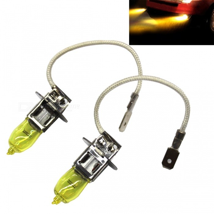 H3 12V 100W 3000K Yellow Light Car Halogen Headlamps (2PCS)