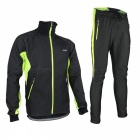 Arsuxeo Cycling Long Sleeve Men's Jacket + Pant - Black + Green (M)
