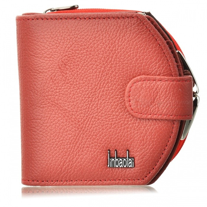 Imperial Horse Red Patent PU Leather Folding Wallet with Button Closure
