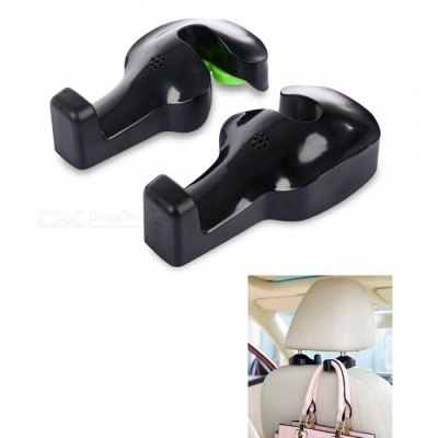 KICCY ABS Car Backseat Headrest Hanger Hooks - Black (2 PCS)