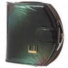 Imperial Horse Patent PU Leather Folding Wallet with Button Closure - Color Assorted