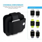 Soft Silicone Protective Charging Wallet for Apple Watch - Black