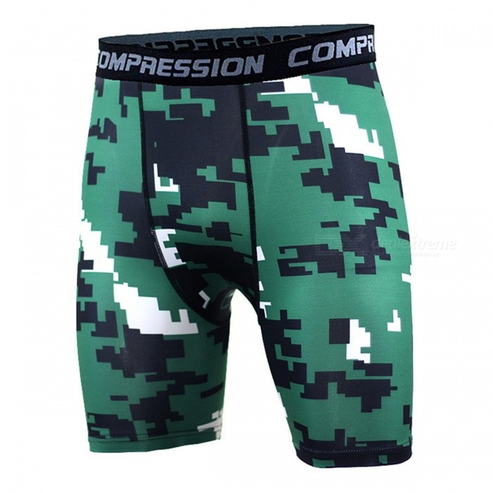 Outdoor Multifunction Men's Fitness Camouflage Short Pant - Green (L)