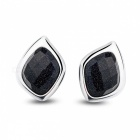 SILVERAGE 925 Sterling Silver Fine Jewelry Stud Earrings - Black