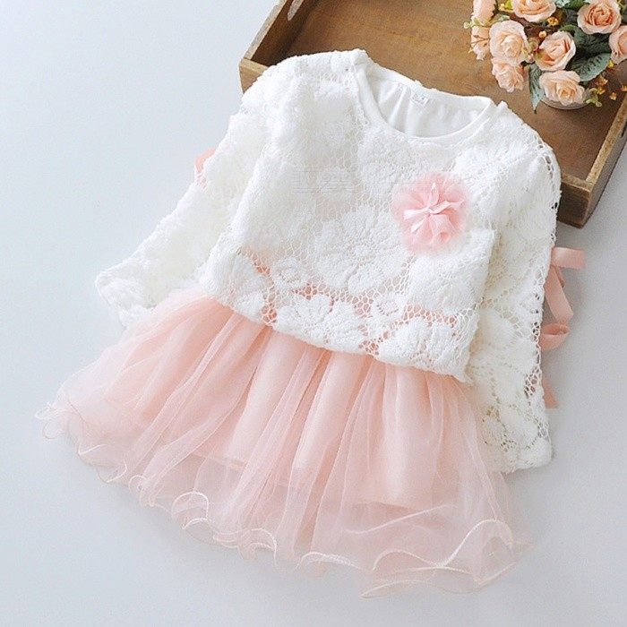 2017 New Spring Stitching Lace Round Neck Baby's Dress - White + Pink