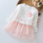 Stitching Lace Peng Peng Baby Dress for 3-4 Years Old Kids - Pink