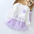 Stitching Lace Peng Peng Baby Dress for 3-4 Years Old Kids - Purple