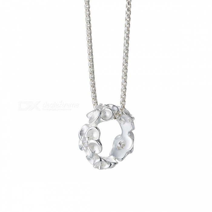 SILVERAGE Genuine 925 Sterling Silver Flower Necklace