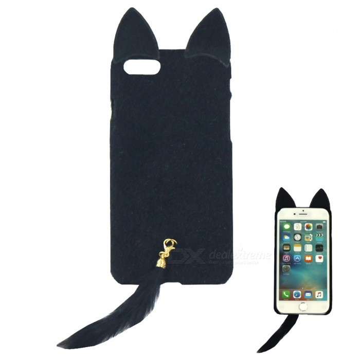 Fox Style Plush + Plastic Back Case for IPHONE 7 Plus - Black