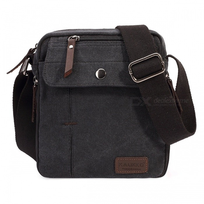 KAUKKO FJ49 Unisex Outdoor Sports Canvas Shoulder Bag - Black