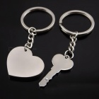 Heart Shaped I Love You Couple Key Chain Set - Silver
