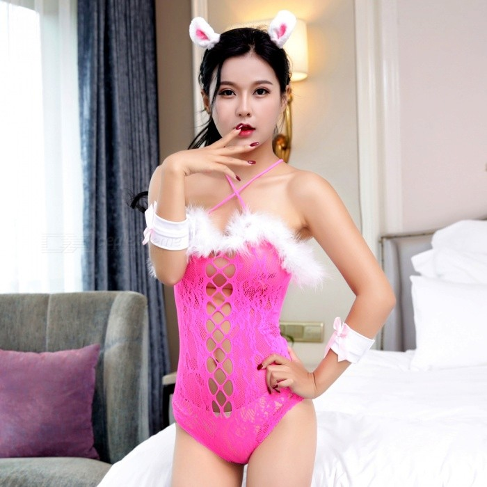 Lovely Rabbit Nightclub Esitykset Lingerie-Rose Red + White
