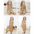 Cartoon Flannel Sleeping Bag for 3~4 Years Old Kids - Brown + White