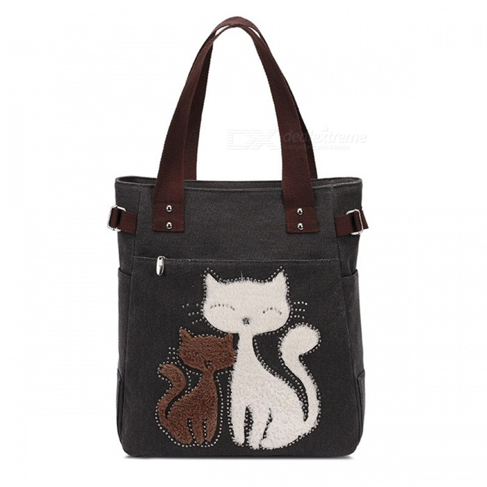 KAUKKO GW093 10L Cute Cat Pattern Handbag for Women - Black