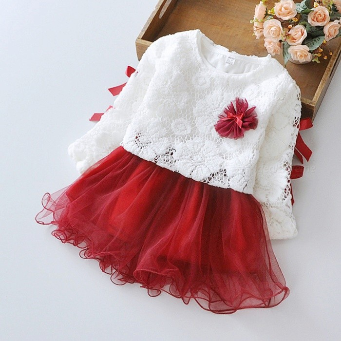 2017 New Spring Stitching Lace Round Neck Baby's Dress - Wine Red