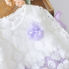 2017 New Spring Stitching Lace Round Neck Baby's Dress- Purple + White