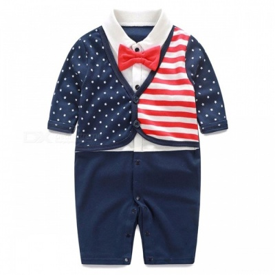 IDGIRL Boy Rompers Suit Newborn for 0~3 Months Baby -White + Navy Blue