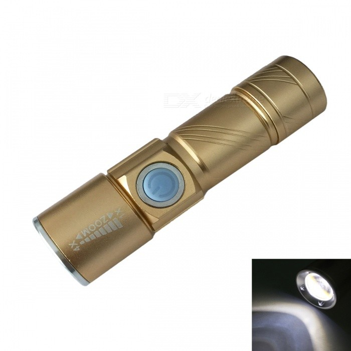 Ismartdigi S Size USB Rechargeable 3-Mode Zooming Flashlight - Golden