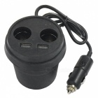 1-to-4 Cup Style Car Charger w/ Dual USB + Dual Cigarette Lighter