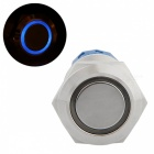 QooK 19mm 12V Blue LED Push Button Metal Switch for Car -Silvery White