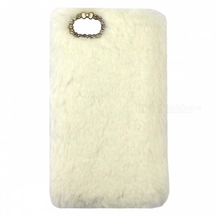 Rabbit Fur with Diamond Cover Shell for IPHONE 6/6S 4.7 inch - White