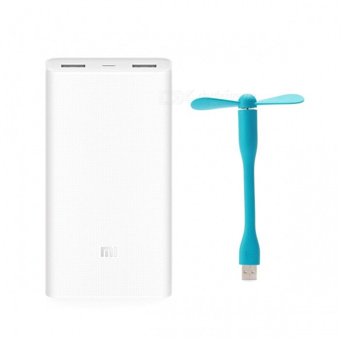 Xiaomi 20000mAh Mobile Power 2 + Xiaomi USB Portable Fan - Blue