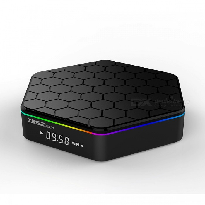 T95Z Plus Android 6.0 Octa-core TV BOX w/ 3GB ROM, 16GB RAM (EU Plug)Smart TV Players<br>Form  ColorBlackBuilt-in Memory / RAM3GBStorage16GBPower AdapterEU PlugModelT95Z PlusQuantity1 DX.PCM.Model.AttributeModel.UnitMaterialPlasticShade Of ColorBlackOperating SystemAndroid 6.0ChipsetAmlogic S912CPUOthers,Cortex-A53Processor Frequencyup to 2 GHzGPUARM Mali-T820MP3 GPU up to 750MHz (DVFS)Menu LanguageEnglish,French,German,Italian,Spanish,Portuguese,Russian,Vietnamese,Polish,Greek,Danish,Norwegian,Dutch,Arabic,Turkish,Japanese,Bahasa Indonesia,Korean,Thai,Maltese,Hungarian,Latin,Persian,Malay,Slovak,Czech,Greek,Romanian,Swedish,Finnish,Chinese Simplified,Chinese Traditional,Bulgarian,Norwegian,HebrewRAM/Memory TypeDDR3 SDRAMMax Extended Capacity32GBSupports Card TypeMicroSD (TF)External HDD2TBWi-Fi2.4G/5G Wi-Fi Support IEEE 802.11 b/g/n/acBluetooth VersionBluetooth V4.03G FunctionNoWireless Keyboard/Mouse2.4Ghz/5GhzAudio FormatsMP3,WMA,APE,FLAC,OGG,AC3,DTS,AACVideo FormatsRM,RMVB,AVI,DIVX,MKV,MOV,HDMOV,MP4,M4V,PMP,AVC,FLV,VOB,MPG,DAT,MPEG,H.264,MPEG1,MPEG2,MPEG4,WMV,TP,CD,VCD,DVD,BD,H.265Audio CodecsDTS,AC3,LPCM,FLAC,HE-AACVideo CodecsMPEG-1,MPEG-2,MPEG-4,H.264,VC-1,H.265Picture FormatsJPEG,BMP,PNG,GIF,TIFF,jps(3D),mpo(3D)Subtitle FormatsMicroDVD [.sub],SubRip [.srt],Sub Station Alpha [.ssa],Sami [.smi]idx+subPGSOutput Resolution4KHDMIHDMI output 2.0Audio OutputHDMI/AVVideo OutputHDMI/AVUSBUSB 2.0Other Interface1* HDMI output 2.0 4K*2K @ 60Hz, 2* High speed USB 2.0,support U DISK and USB HDD, 1* TF CARD Support 1~32GB, 1* 3.5 Phone out CVBS&amp;L/R output, 1* RJ45 LAN Ethernet 10M/100M/1000MPower Supply100~240VCompatible ApplicationFacebook,Youtube,Skype,Netflix,XBMC,HuluPacking List1 x TV Box1 x IR remote controller1 x HDMI cable (100cm)1 x EU plug adapter (100cm)1 x English user manual<br>