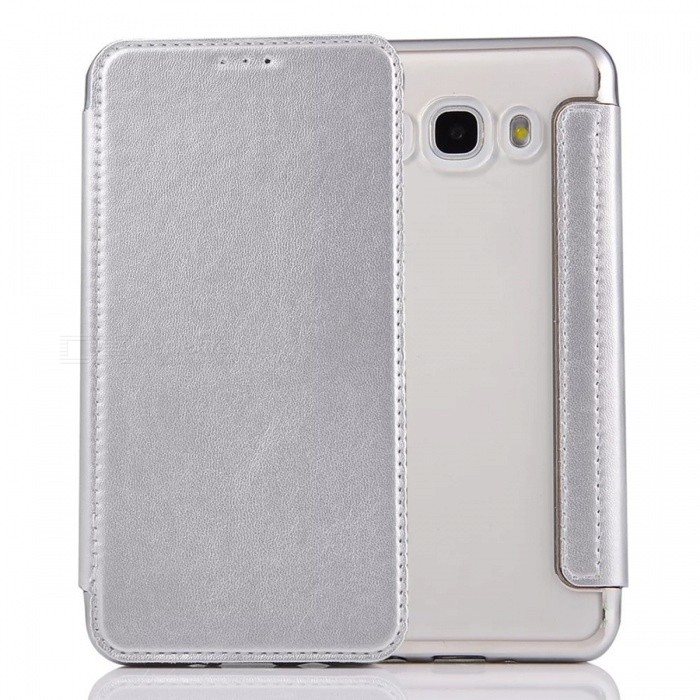Flip-Open PU Leather Case for Samsung Galaxy J5 (2016) - Silver