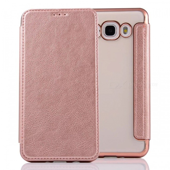 Flip-Open PU Leather Case for Samsung Galaxy J7 (2016) - Rose Gold