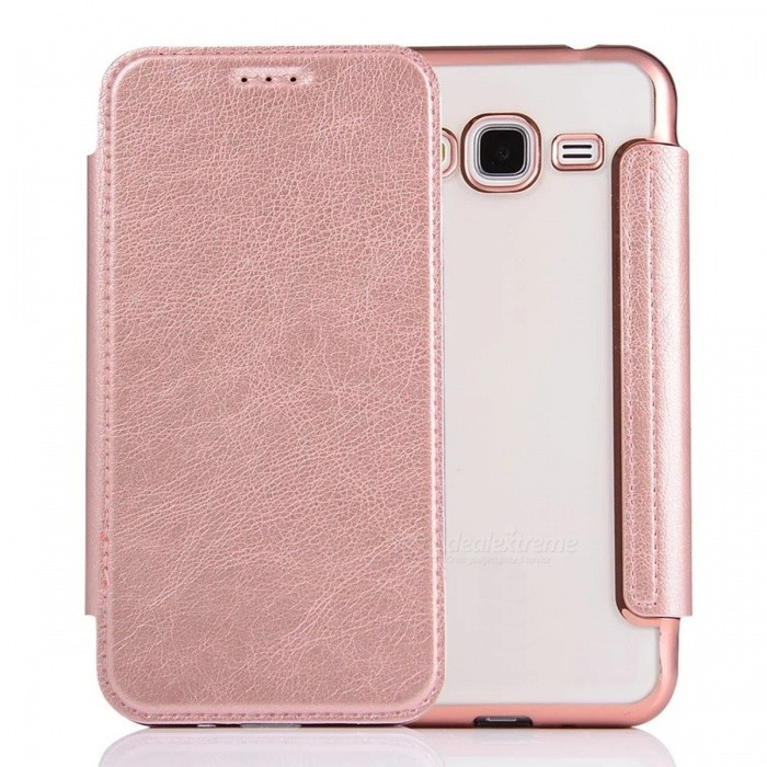 Flip-Open PU Leather Case for Samsung Galaxy J3 (2016) - Rose Gold