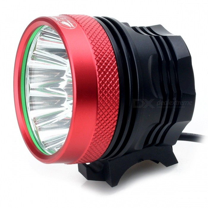 Zhishunjia B14 T6 14-LED 3-Mode Cold White Bike Light / Headlamp - RedBike Light<br>Form  ColorRed - 14LEDModelB14Quantity1 DX.PCM.Model.AttributeModel.UnitMaterialAluminium alloyEmitter BrandCreeLED TypeXM-LEmitter BINT6Color BINCold WhiteNumber of EmittersOthers,14Input Voltage8.4 DX.PCM.Model.AttributeModel.UnitBattery10*18650 (battery)Battery included or notYesCurrent7 DX.PCM.Model.AttributeModel.UnitTheoretical Lumens9800 DX.PCM.Model.AttributeModel.UnitActual Lumens9000 DX.PCM.Model.AttributeModel.UnitRuntime4 DX.PCM.Model.AttributeModel.UnitNumber of Modes3Mode ArrangementHi,Mid,Fast StrobeMode MemoryNoSwitch TypeForward clickySwitch LocationTailcapBeam Range150 DX.PCM.Model.AttributeModel.UnitStrap/ClipNoApplicationHandle BarHolder Diameter2~4 DX.PCM.Model.AttributeModel.UnitWaterproofNoPacking List1 x Bike light2 x Rubber rings1 x 8800mAh Battery Pack (10 x 18650) 1 x US plug power charger (100V~240V / 70cm)<br>