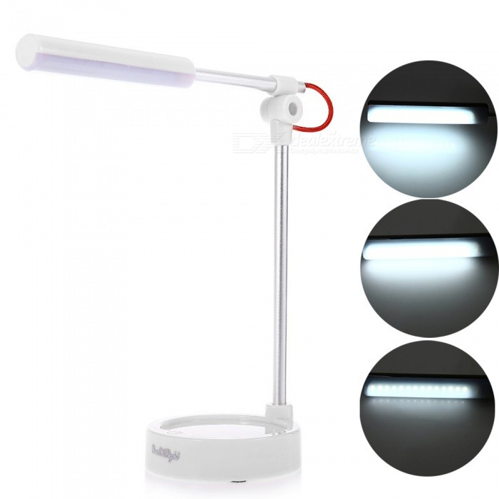 YouOKLight 3-Mode White Light LED Metal Folding Desk Lamp - White