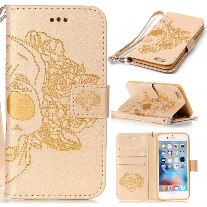 BLCR Skull Pattern Leather Wallet Case for IPHONE 6 / 6S PLUS - GoldenLeather Cases<br>Form  ColorGoldenQuantity1 DX.PCM.Model.AttributeModel.UnitMaterialPU + TPUCompatible ModelsIPHONE 6S PLUS,IPHONE 6 PLUSStyleFlip OpenDesignWith Stand,Card Slot,With StrapPacking List1 x Case1 x Strap<br>