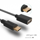 GTcoupe ix-c3011 Type-C to Type-A USB OTG Cable Adapter - Black (15cm)