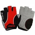 NUCKILY Non-slip Breathable Semi Finger Gloves for Riding - Red (L)
