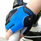 NUCKILY Non-slip Breathable Semi Finger Gloves for Riding - Blue (XL)