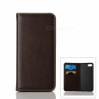 Flip-Open Automatic Close Cow Split Leather Case w/ Stand for IPHONE 7