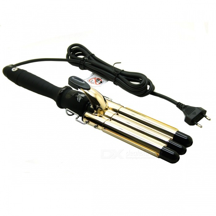 LOOF Three Barrel Triple Pipe Wave Hair Curling Curler Iron - Golden