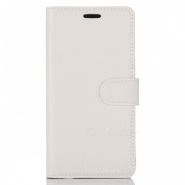 Protective PU Wallet Case w/ Card Slots for Nokia 6 - White