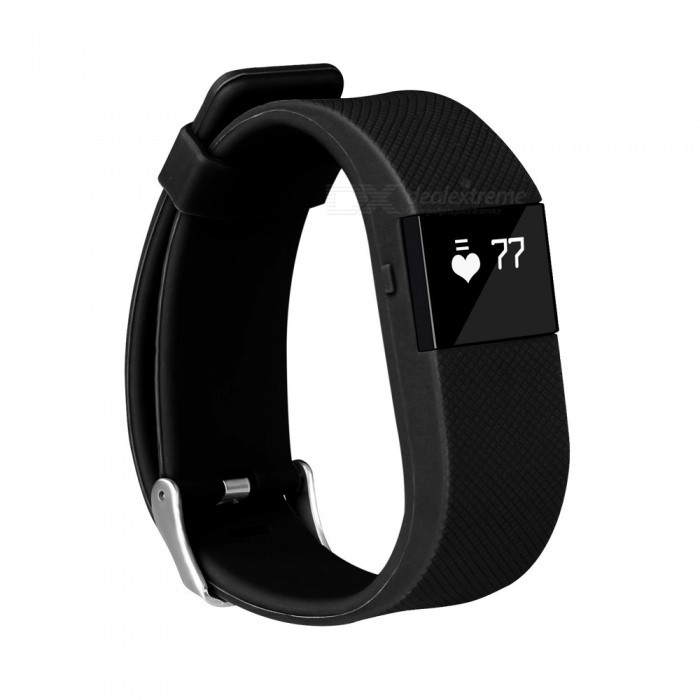 KICCY TW64S Smart Bracelet w/ Pedometer, Heart Rate Monitor - Black