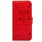 Crazy Devil Girl Pattern Protective Flip Open Full Body PU Leather Case w/ Stand / Card Slots - Red