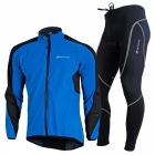 NUCKILY Windproof Waterproof Long Sleeved Cycling Suit - Blue (L)
