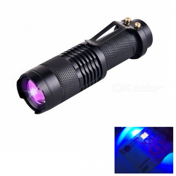 ZHISHUNJIA 1-Mode 395nm UV Fluorescent Agent Identification Flashlight14500 Flashlights<br>Form ColorBlackModelsk68zgQuantity1 pieceMaterialAluminium alloyOther FeaturesRechargeableBrandZHISHUNJIAEmitter BrandOthers,(UV-LED)LED TypeOthers,(UV-LED)Emitter BINothers,(UV-LED)Color BINPurpleNumber of Emitters1Working Voltage   1.5-3.7 VPower Supply1 x AA or 14500 (not included)Current1.5 ATheoretical Lumens120 lumensActual Lumens100 lumensRuntime6 hourNumber of Modes1Mode ArrangementOthers,LightMode MemoryNoSwitch TypeForward clickySwitch LocationTailcapLensGlassReflectorAluminum TexturedBeam Range100 mStrap/ClipClip includedOutput(lumens)1-200Runtime(hours)4.1 and abovePacking List1 x UV flashlight<br>