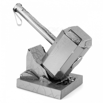 3D Puzzle Thor Hammer Block Educational Toy for Kids - Silver
