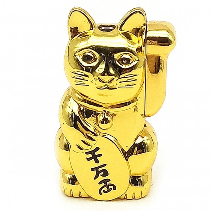 Creative Cute Lucky Cat Style Metal Gas Lighter - Golden