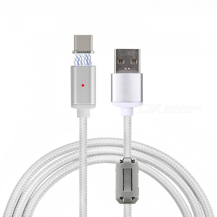 Cwxuan USB Type-C Detachable Magnetic Braided Charging Data Cable (1m)Laptop/Tablet Cable&amp;Adapters<br>Form  ColorSilverQuantity1 DX.PCM.Model.AttributeModel.UnitShade Of ColorSilverMaterialAluminum alloy + nylon braidedInterfaceUSB 2.0,Others,Type-CTransmission Rate480 DX.PCM.Model.AttributeModel.UnitPacking List1 x Magnetic cable (100cm±2cm)1 x Metal port<br>