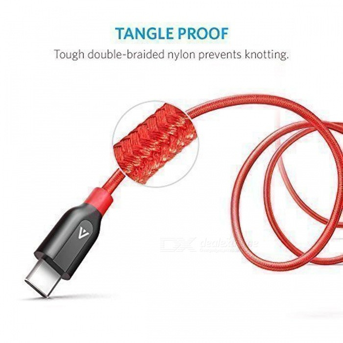 Anker Powerline+ PVC + Nylon USB Type C to USB 3.0 Cable - Red (3ft) [фото4]