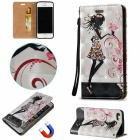 Fashionable Flip-Open PU + TPU Cover w/ Stand & Card Slots, Magnetic Closure