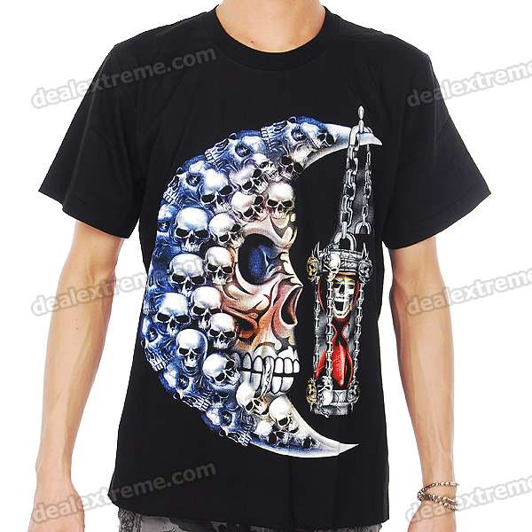 Punk Style Cotton T-Shirt with Luminous Pattern - Skull Heads Moon (Size L)