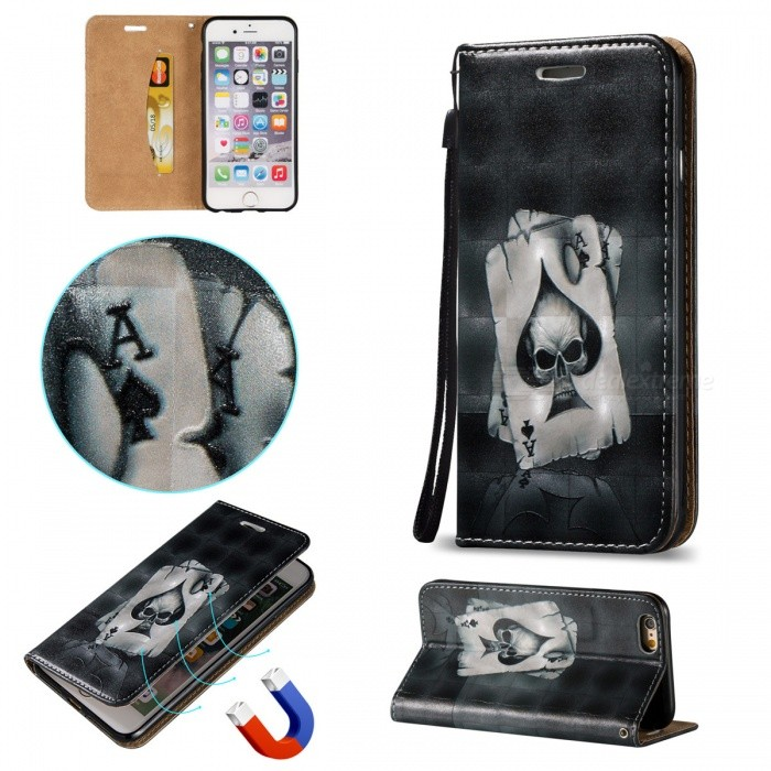 BLCR 3D Embossed Poker Pattern Magnetic PU Holder Case for IPHONE 6/6S